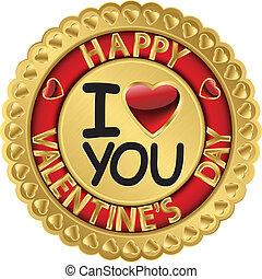Happy Valentine day golden label, v
