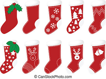 Christmas socks vector - Red christmas socks with different...