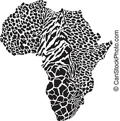 Africa in a animal camouflage - vector illustration of...