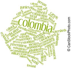 Colombia - Abstract word cloud for Colombia with related...