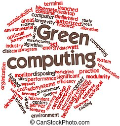 Green computing - Abstract word cloud for Green computing...