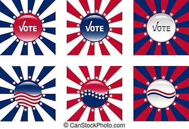 Buttons for American elections - Glassy buttons for American...