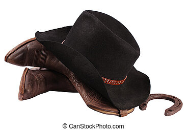 Cowboy clothes isolated on white.Western boots and black hat