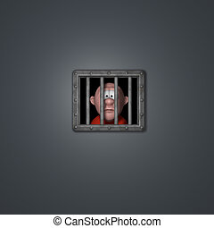 cartoon guy in jail - cartoon guy behind riveted steel...