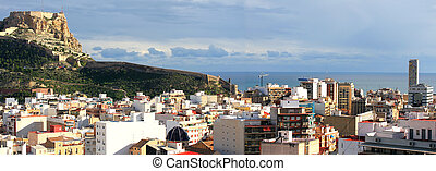 Alicante Spain Mediterranean City with a panoramic View on Santa Barbara Castle Fortifications