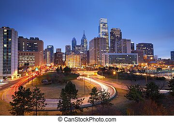 Philadelphia. - Image of Philadelphia skyline and busy roads...