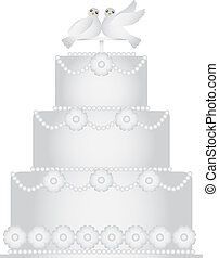 Three Tier Wedding Cake with Pair of Doves Caketopper and...