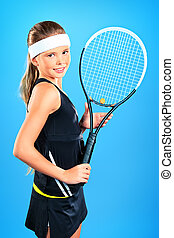 recreation sport - Portrait of a girl tennis player holding...