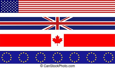 flag borders - set of four flag page border designs...