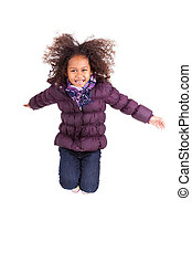 Portrait of Young African Asian  girl jumping