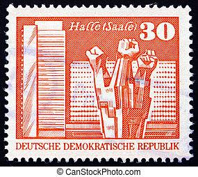 Postage stamp GDR 1973 Worker?s Memorial, Halle - GDR -...