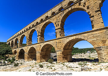 Pont du Gard, Nimes, Provence, France - Pont du Gard is an...