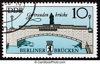 Postage stamp GDR 1985 Gertrauden Bridge, East Berlin - GDR...