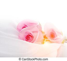 Cor-de-rosa, rosas, branca, seda