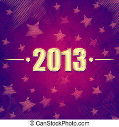 year 2013 over violet retro background with stars