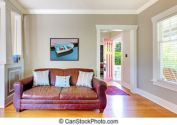 Leather sofa and living room with open door - Leather sofa...