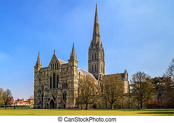 Salisbury Cathedral Front view and park on sunny day, South...