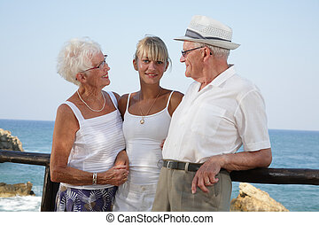 my grandparents and I - proud grandparents smiling at their...