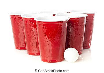 vermelho, Cerveja, pong, copos