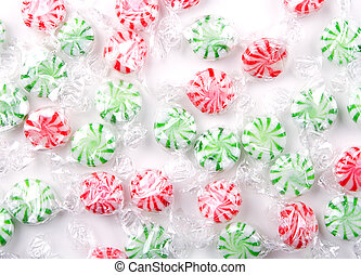 Christmas peppermint candy for a background