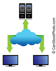 servers and cloud network illustration design over a white...