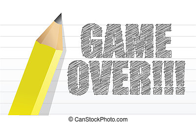 game over written on a notepad