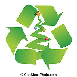 recycle tree illustration design over a white background
