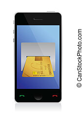 phone purchasing by credit cart illustration design over...