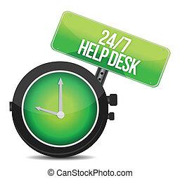 help desk 24 - 7 illustration design over a white background