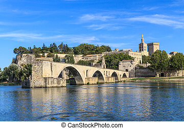 Avignon Bridge with Popes Palace, Pont Saint-Bénezet,...