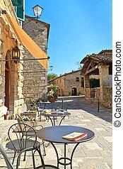 Bagno Vignoni, Tuscany - Bagno Vignoni Cafe / Street Scene,...