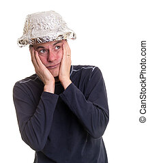 Paranoid Man - A man wearing a tin hat to keep his thoughts...