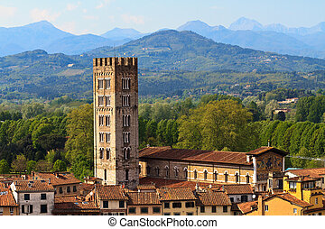 Lucca, Tuscany - View over Old Town (Italy)