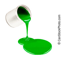Green liquid paints spouting from can isolated