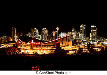 Calgary Alberta Canada Skyline major City saddledome Night...