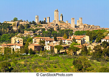 San Gimignano - View on Tuscan City of San Gimignano,...