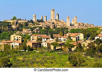 San Gimignano - View on Tuscan City of San Gimignano,...