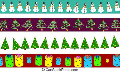Christmas borders - set of four decorative Christmas page...