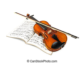 Violin and fiddle stick over score isolated on white