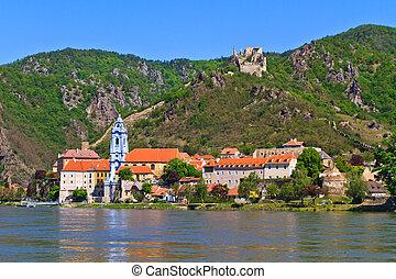 Durnstein on the river danube (Wachau Valley), Austria -...