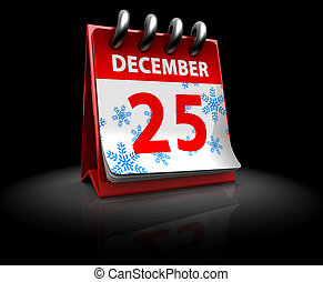 Christmas time - 3d illustration of Christmas calendar over...