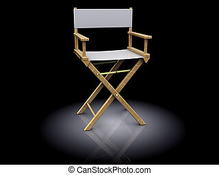 director chair - 3d illustration of director chair, white...