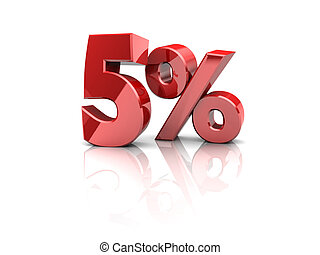 five percent - 3d illustration of five persent sign, over...