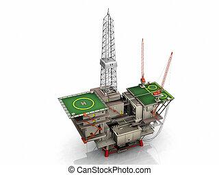 óleo, plataforma, branca, fundo