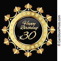 Happy 30 birthday , gold design vector