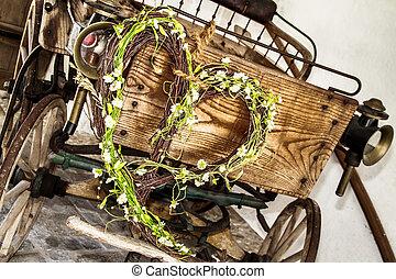Wooden wedding cart with green flower heart - Wooden wedding...