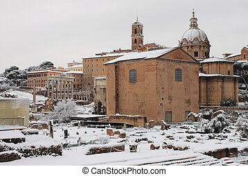 Roman Forum under snow in Rome, Italy