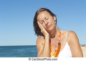 Senior woman headache menopause - Portrait lonely mature...