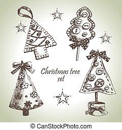 Hand drawn Christmas tree design set