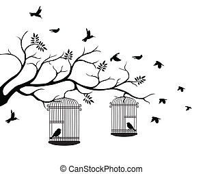 tree silhouette with bird flying - vector illustration tree...